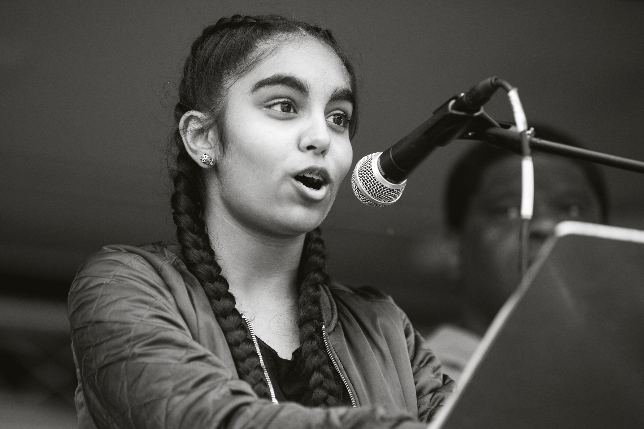 JHX9XF London, UK. 16th July, 2017. Amrita Kaur, a pupil at the Elizabeth Garrett Anderson School in Islington, addresses campaigners against cuts to education funding and their families in Parliament Square as part of a Carnival Against The Cuts protest organised by Fair Funding For All Schools. Credit: Mark Kerrison/Alamy Live News