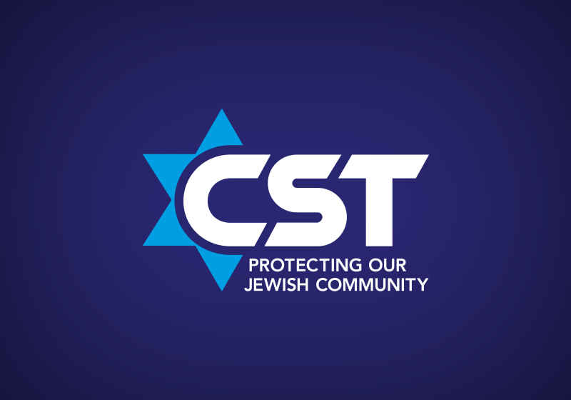 Community Security Trust logo. Beneath the letters CST is says 'Protecting our Jewish Community'