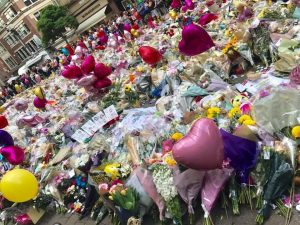 Memorial flowers for the Manchester Arena attacks