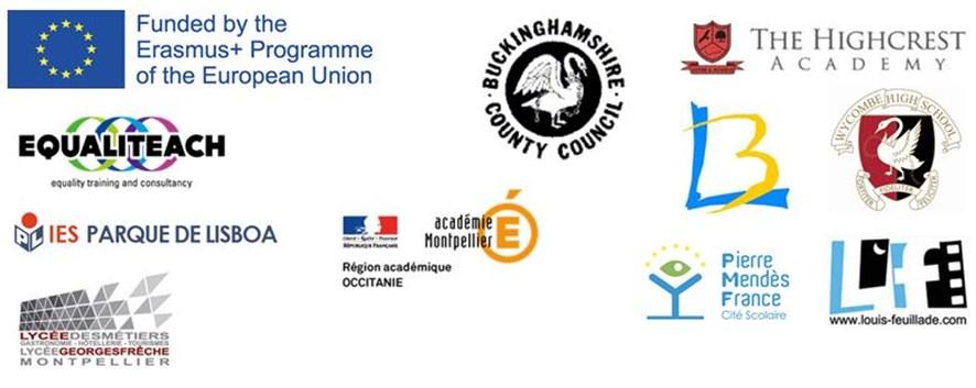 A collection of logo's. The logo's shown are: Erasmus Programme of the European Union; Buckinghamshire County Council; The Highcrest Academy; Equaliteach' Parque De Lisboa; Region academique occtanie' Pierre Mendes France' Lous Feullitade; Lycee de Montpellier